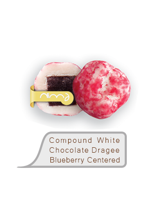 Compound White Chocolate Dragee Blueberry Centered