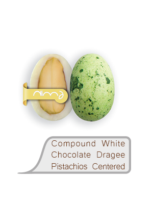 Compound White Chocolate Dragee Pistachios Centered