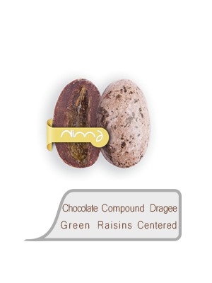 Chocolate Compound Dragee Green Raisins Centered