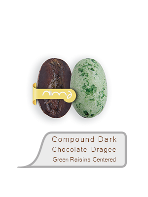Compound Dark Chocolate Dragee Green Raisins Centered